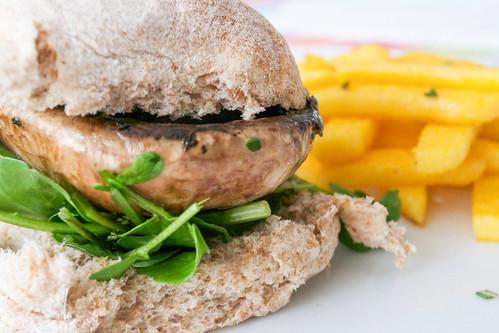 garlic mushroom burger and polenta fries