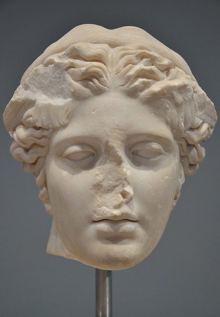 Marble head of Hypnos, god of sleep, 117-138 AD, found inside the Cryptiporticus from the entrance of the Piazza d'Oro at Hadrian's Villa, Palazzo Massimo alle Terme, Rome