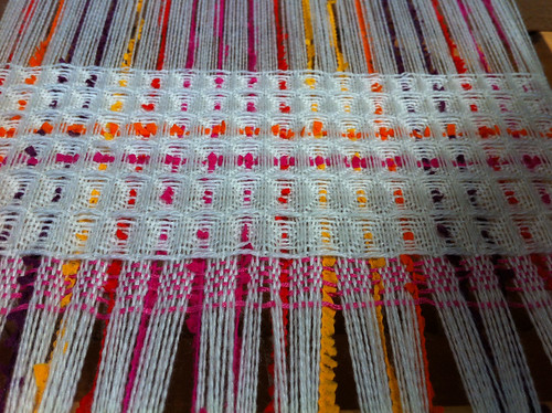 Textured weaving in progress