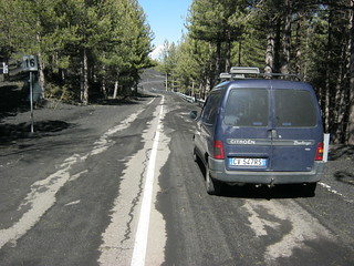 Road covered with volcanic ash