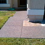 Plum Creek Exposed Aggregate Front Walkway