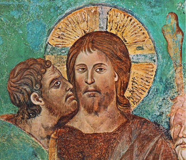 cimabue - The Capture of Christ (detail). Date unknown. Fresco. Upper Church, San Francesco, Assisi, Italy