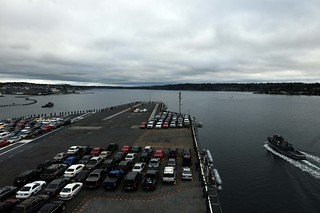 Sailors bring their cars as USS Ronald Reagan leaves Naval Base Kitsap.