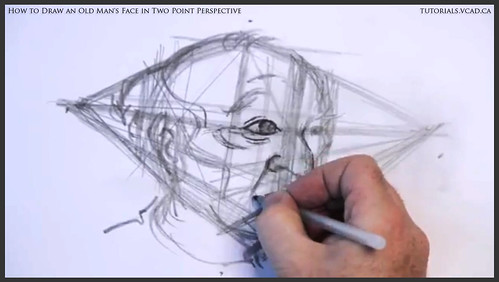learn how to draw an old man's face in two point perspective 017