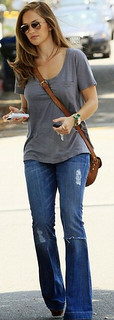 Minka Kelly Flared Jeans Celebrity Style Women's Fashion