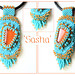 Bead embroidery pendant Sasha by Jewellery by Bianc