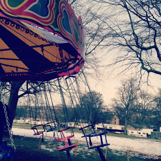 #Swings #funfair #snow #caravans