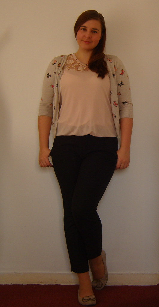 Uniqlo Trousers, Pink top, Tesco Cardigan