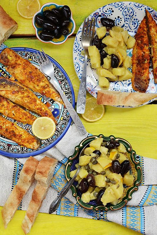 grill mackerel with potapos salad.2