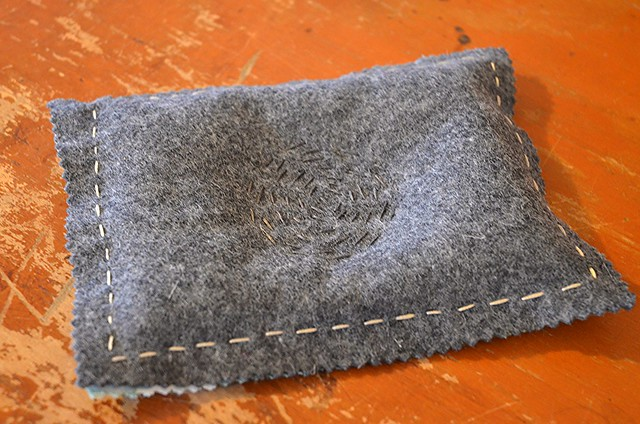 Embroidered felt and fabric catchall