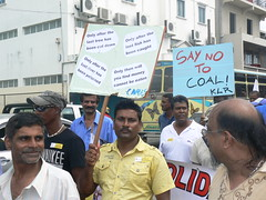 Mauritians protest against the construction of a 100-megawatt (MW) coal power plant in Pointe-aux-Caves, on the west of the island. They say the project will cause irreparable damage to them and the environment of this Indian Ocean island nation. Credit: