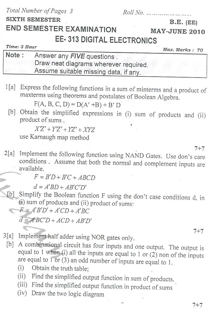DTU Question Papers 2010 – 6 Semester - End Sem - EE-313