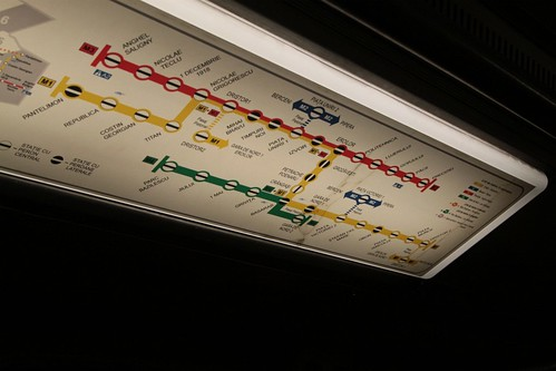 Bucharest Metro network map above the doors of the train carriage