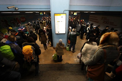 Evening peak crowds on the Bucharest Metro