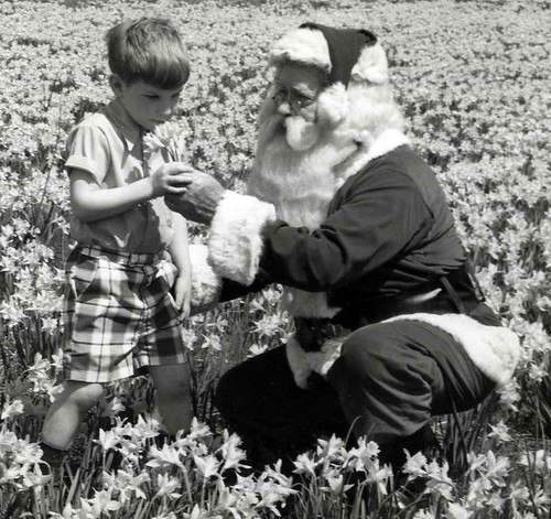 Philip Koch with his grandfather, Santa Jim