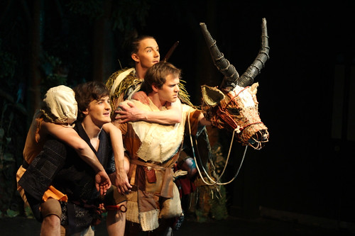 (L-R) Jack Gyll as Injured Man, Maximillian Troy Tyler as Ashitaka, James Blake-Butler as Kohroku and Oliver Davis as Yakul. Photography by Polly Clare Boon