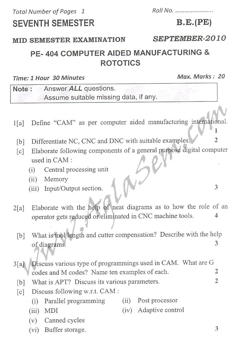 DTU Question Papers 2010 – 7 Semester - Mid Sem -  PE-404