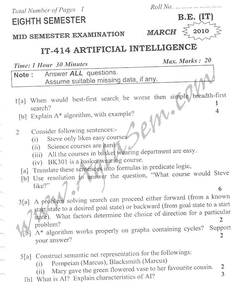 DTU Question Papers 2010 – 8 Semester - Mid Sem - IT-414