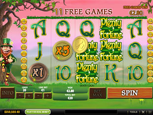 free Plenty O'Fortune bonus game