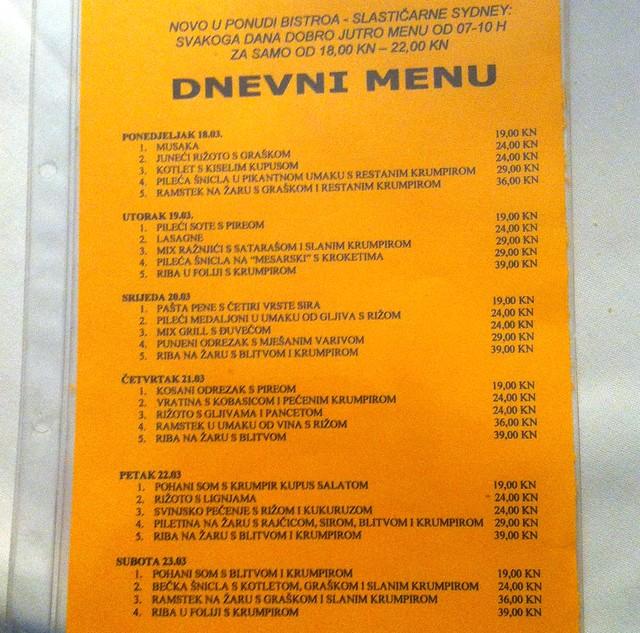 Bistro Sydney - Marenda menu