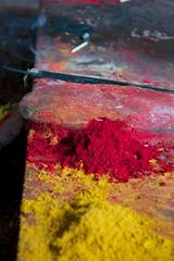 Dye offering inside Chamundeswari temple