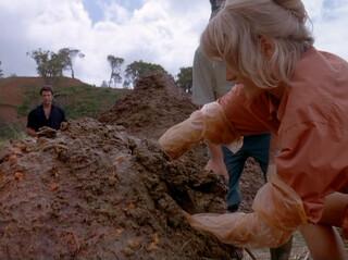 Dr. Sattler digging into dino doo.