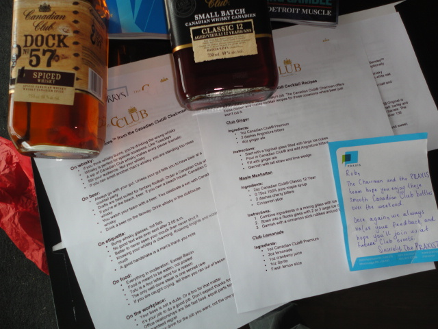 whisky compliments of CC from Praxis PR humbles me