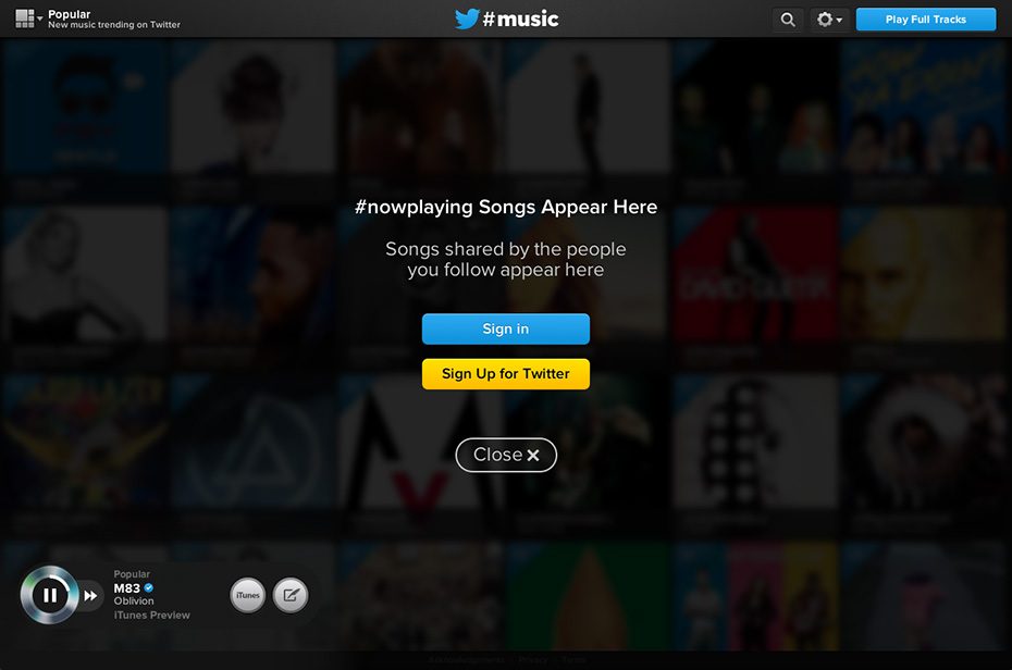 Twitter #music - Log into Twitter