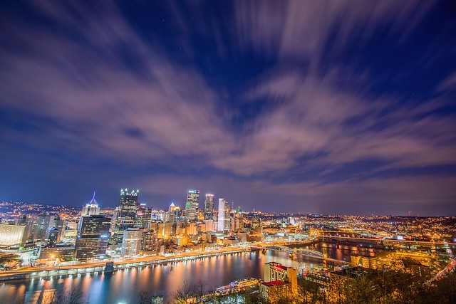 A view up the Monongahela River in Pittsburgh on a cloudy night HDR
