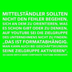 Corporate YouTube: Der nächste Workshop mit Dave ist am 22. Oktober http://herotube.de/ und goo.gl/l8t43S