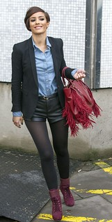 Frankie Sandford Leather Shorts Celebrity Style Women's Fashion