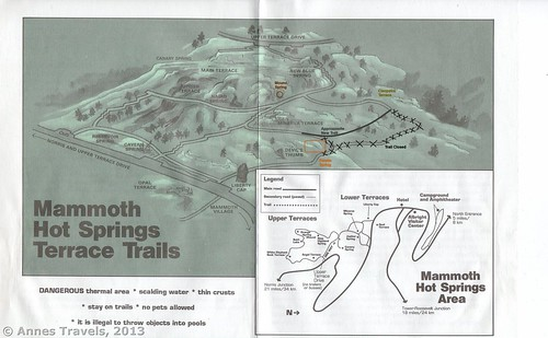 Mammoth Hot Springs Trail Map, Yellowstone National Park, Wyoming