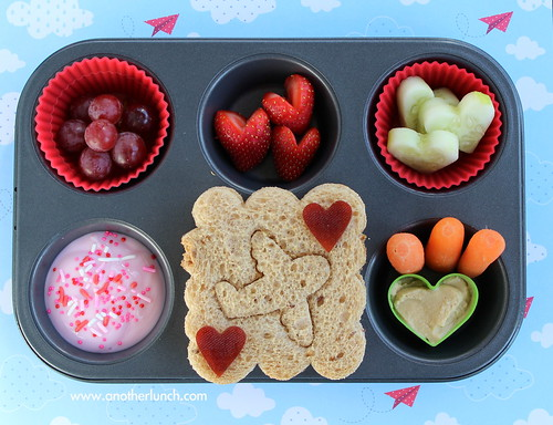 Love is in the Air Muffin Tin Meal with airplane