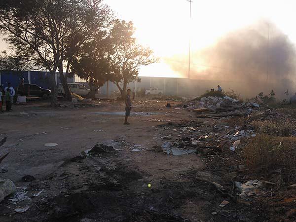 Hueco Coquivacoa incendiandose.