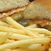 Golden fried fish sandwich and fries