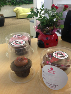 Valentine cupcakes & ladybug roses