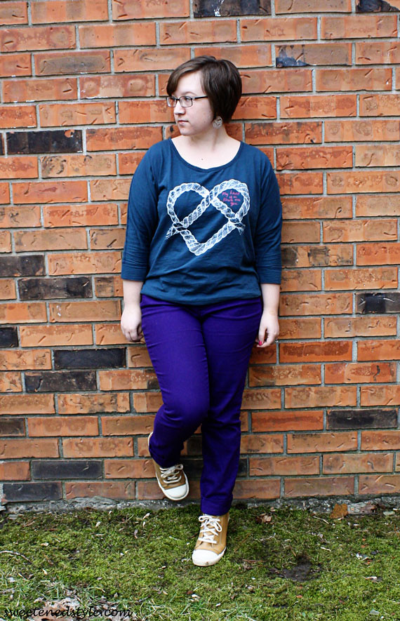 heart tee, purple jeans, brown sneaker wedges