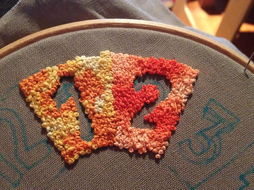 French knot clock face in progress