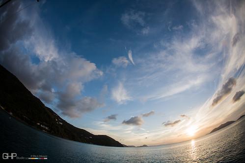 sunset sky cloud nature water ecology clouds scenery skies sailing fisheye environment environmentalism vg ecosystem britishvirginislands 4kmwofroadtown