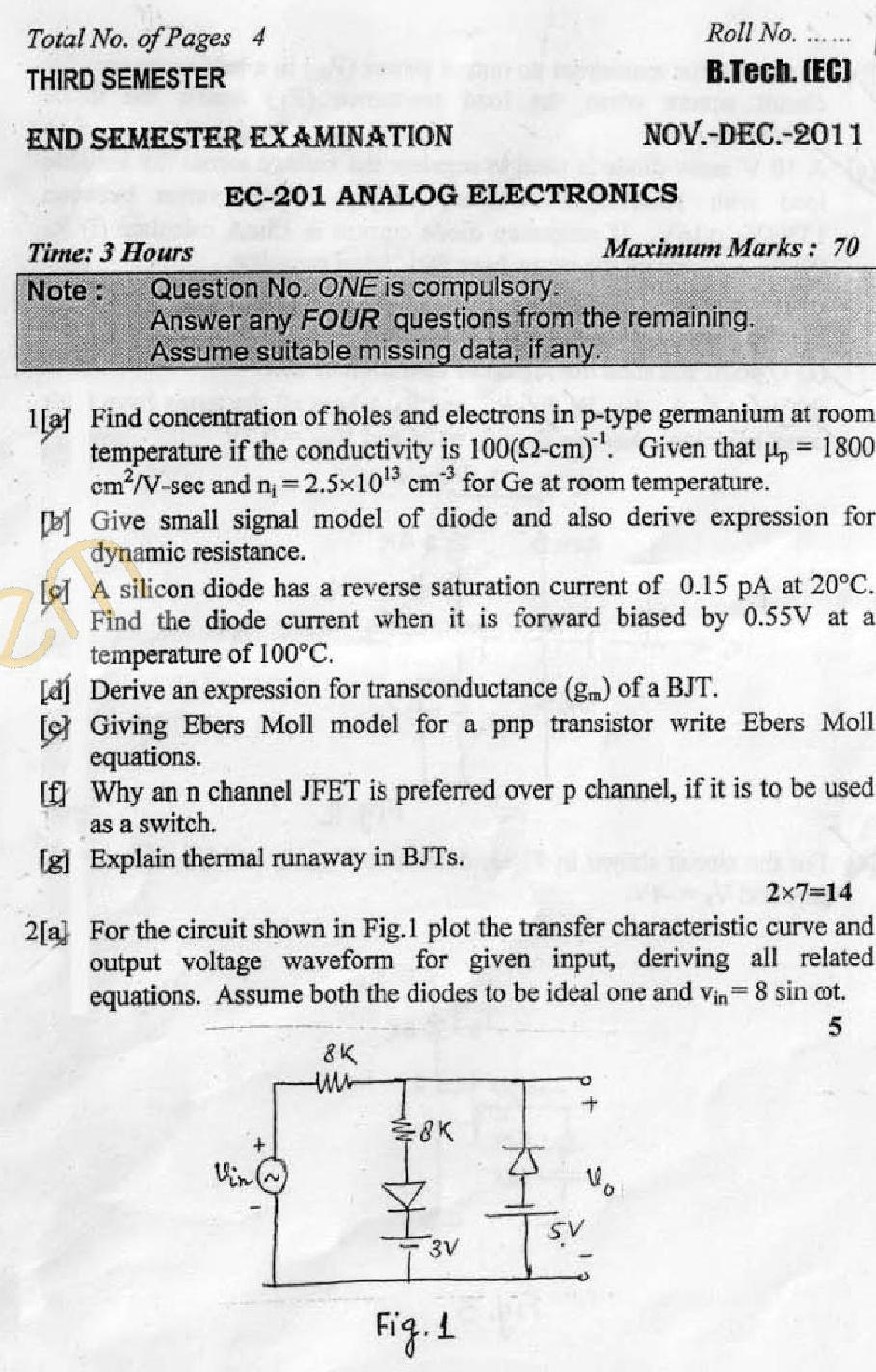 dtu question papers 2011 3 semester end sem ec 201 aglasem rh institutes  aglasem com Rolled Diploma Rolled Diploma