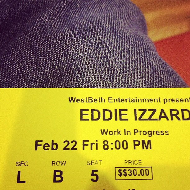 Eddie Izzard was amazing tonight! Best show of his I've been too!
