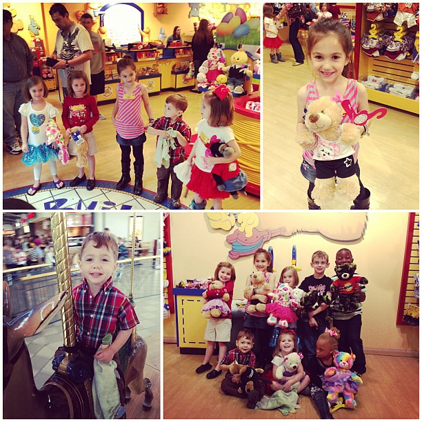 Yesterday at Addison's Build-a-Bear party! It's been a fun weekend of bday parties!