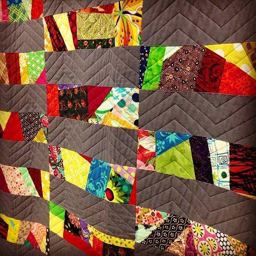 "close up of ""makin me crazy"" by Victoria Findlay Wolfe #quiltcon"