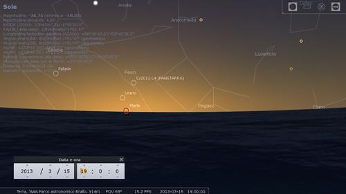 C/2011 L4 (PANSTARRS)  simulazione 15 marzo 2013