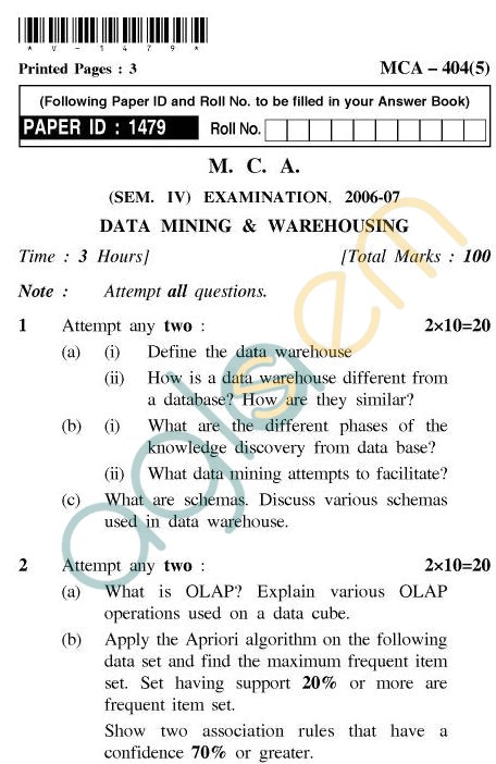 UPTU MCA Question Papers - MCA-404(5) - Data Mining & Warehousing