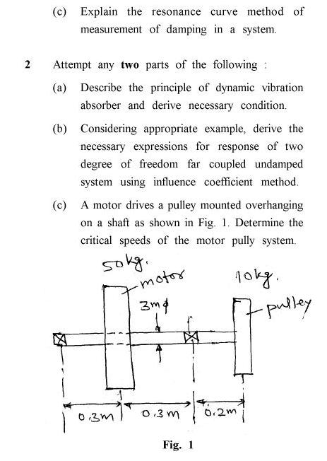 UPTU B.Tech Question Papers - ME-021 - Mechanical Vibration