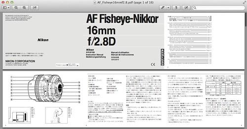 Nikon 16mm f/2.8D AF Fisheye Manual