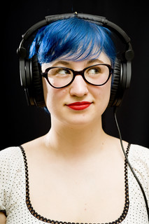 Destination DIY host Julie Sabatier with big headphones on