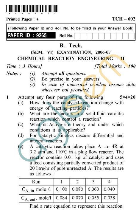UPTU: B.Tech Question Papers - TCH-602 - Chemical Reaction Engineering-II