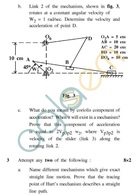 UPTU: B.Tech Question Papers - ME-402 - Kinematics of Machines